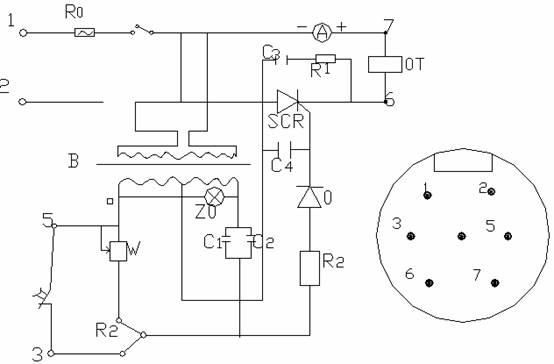 选矿设备可控硅控制器和电磁振动给料机配套使用,用来控制给料机的产量,该选矿设备主要用于电磁式振动设备。 由于选矿设备电磁振动给料机的给料随振幅的大小而相应变化,振幅又随通过电磁振动器线圈电流大小而变化,因此,可以控制通过电磁振动器的电流来调节给料量。这目的是通过改变可控硅整流器的导通角来实现的。 如下图所示。选矿设备控制器采用阻容移相桥触发线路来控制可控硅的导通角。该种线路较为简单,工作可靠,使用元件少,易于维护。可控硅整流器的导通角在额定工作电流下,大约在30°左右。在工作中只需旋转一只电位器廉